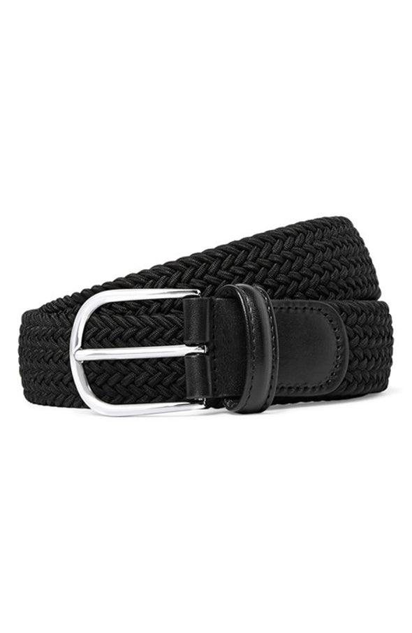 Black Solid Woven Elastic Belt - Anderson's