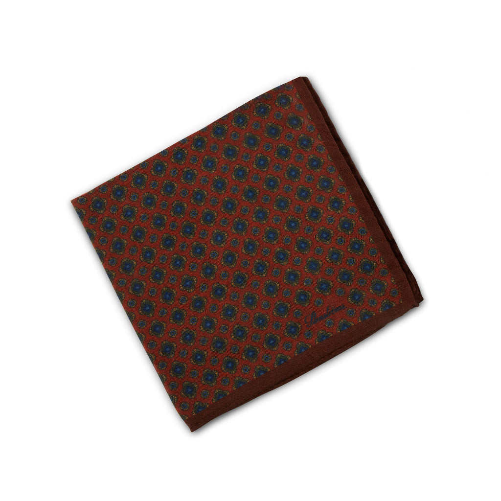 Geometric Patterned Hankie In Wool
