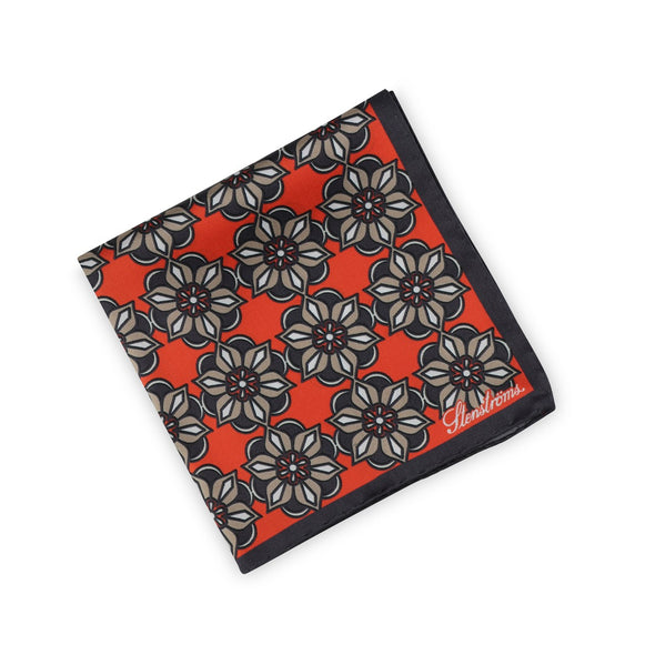 Silk Hankie Geometric Medallion Red - Stenströms