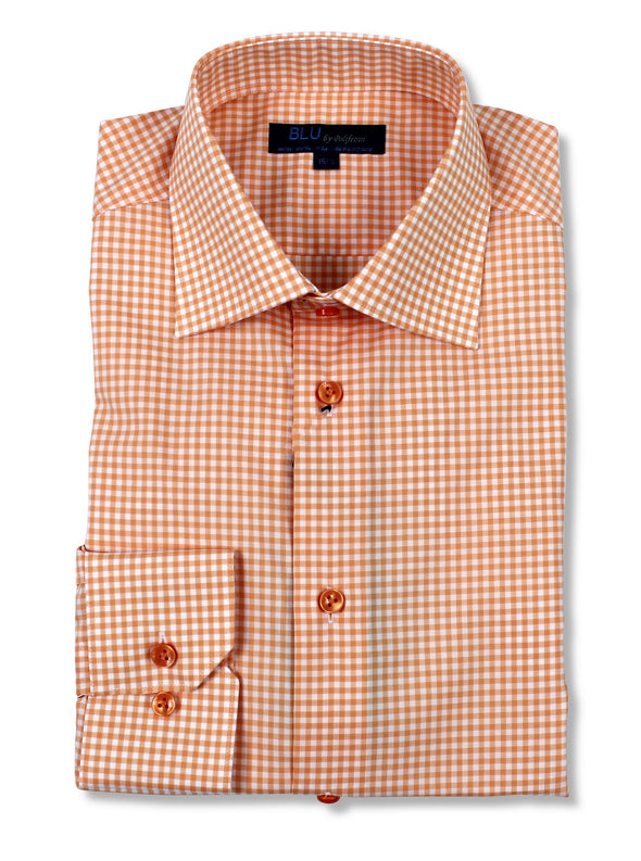 Orange Check Dress Shirt • Slim Fit • Non-iron