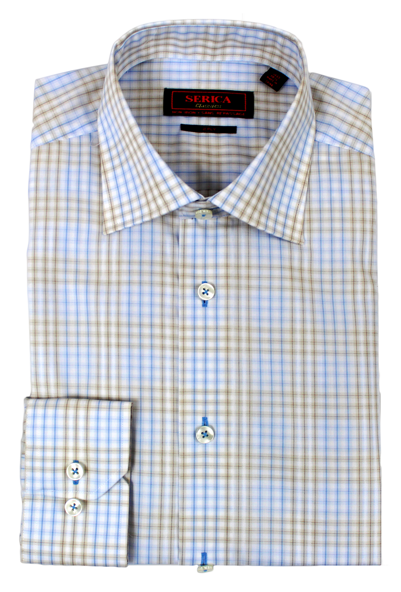 Blue & Brown Check • Dress Shirt  • Contemporary Fit • Non-iron • Wrinkle-free