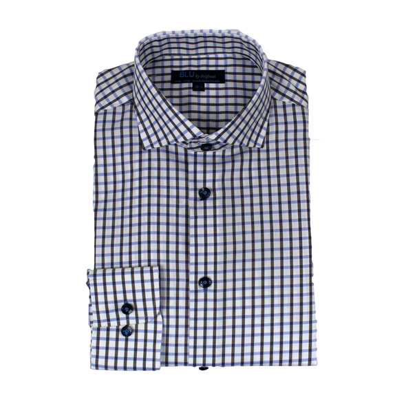 Blue & Gray Check Slim Fit Dress Shirt