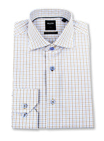 Brown & Blue Check Dress Shirt • Slim Fit • Non-iron
