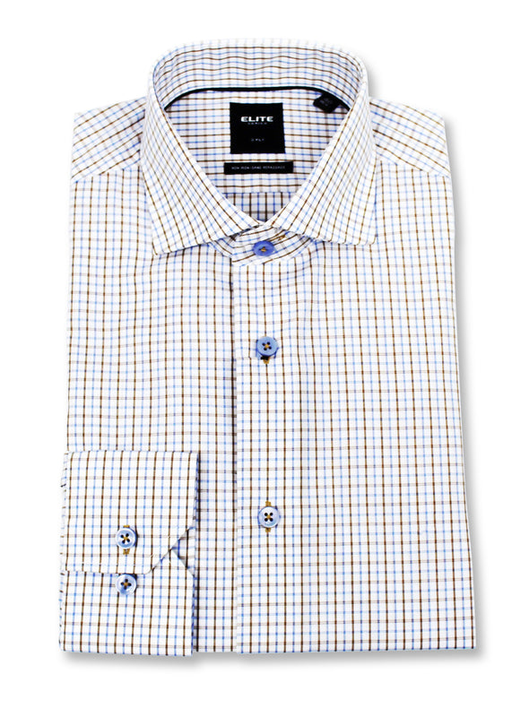 ELITE Brown Check Dress Shirt • Slim Fit • Non-iron