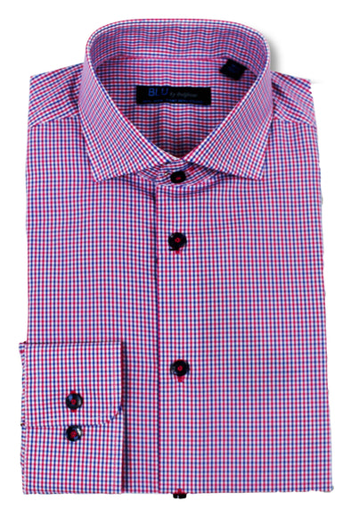 Pink & Blue Micro Check • Dress Shirt • Slim Fit • Non-Iron