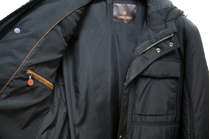 Cristobal Black Winter Coat with Hood
