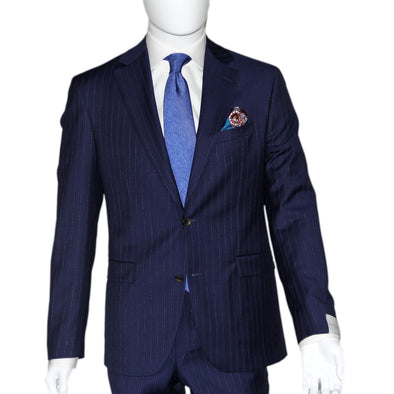 Atlantic Blue Bouclé Pin-Stripe Slim Fit Urban Sartorial Suit