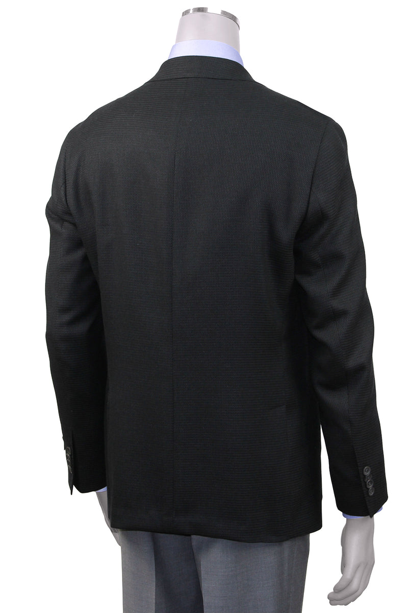 Jack Victor Contemporary Fit Black Textured Sport Coat - Rear View