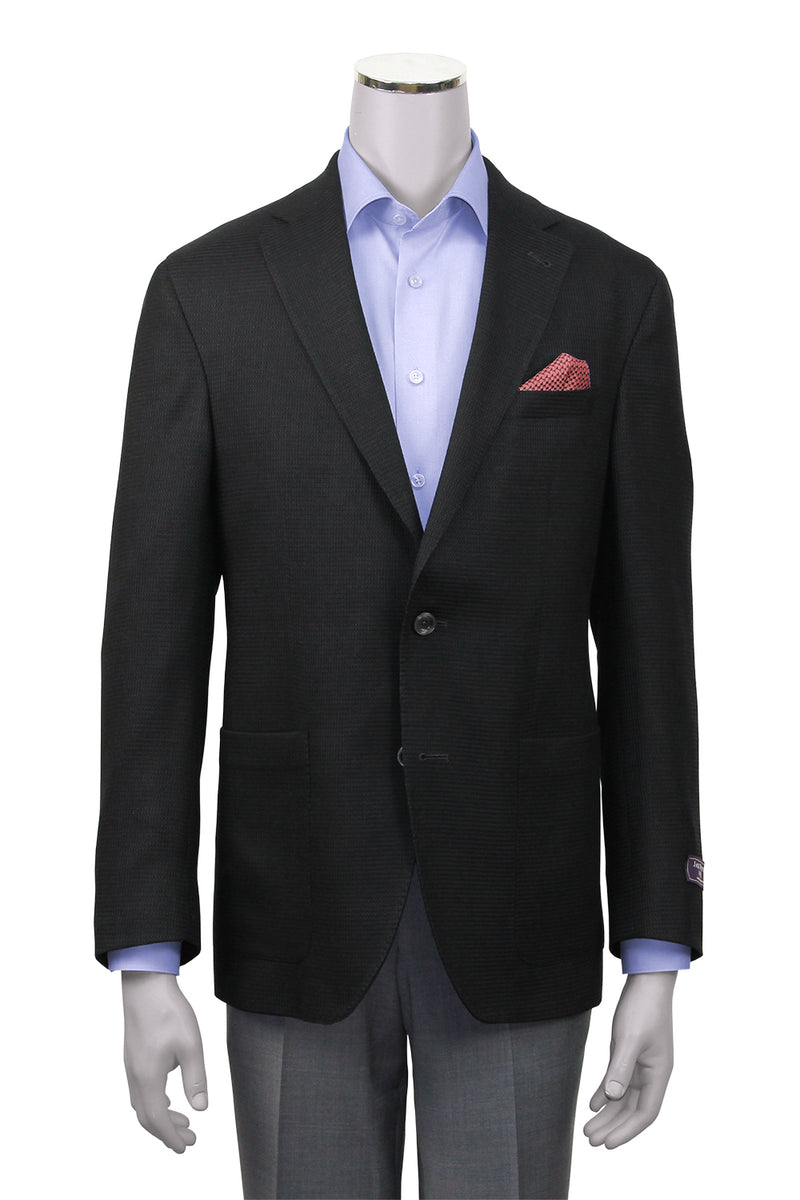 Jack Victor Contemporary Fit Black Textured Sport Coat - Front View