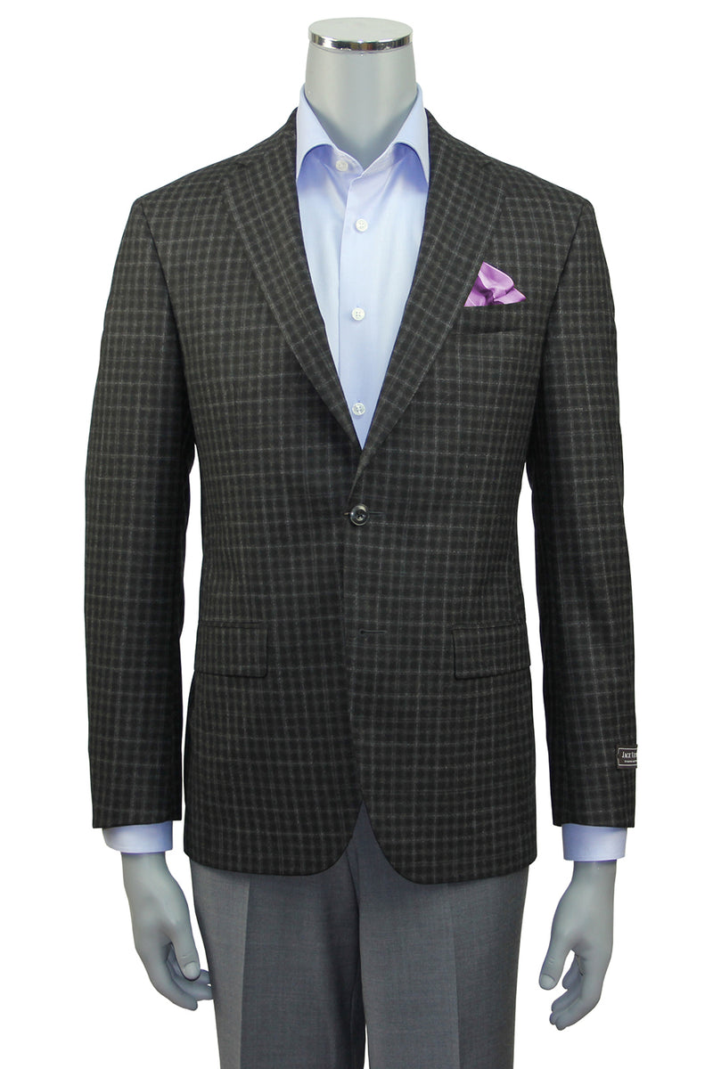 Jack Victor Slim Fit Charcoal Checked Sport Coat - Front View