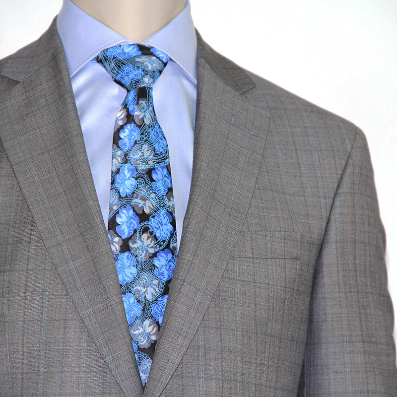 Mid-grey windowpane suit by Jack Victor