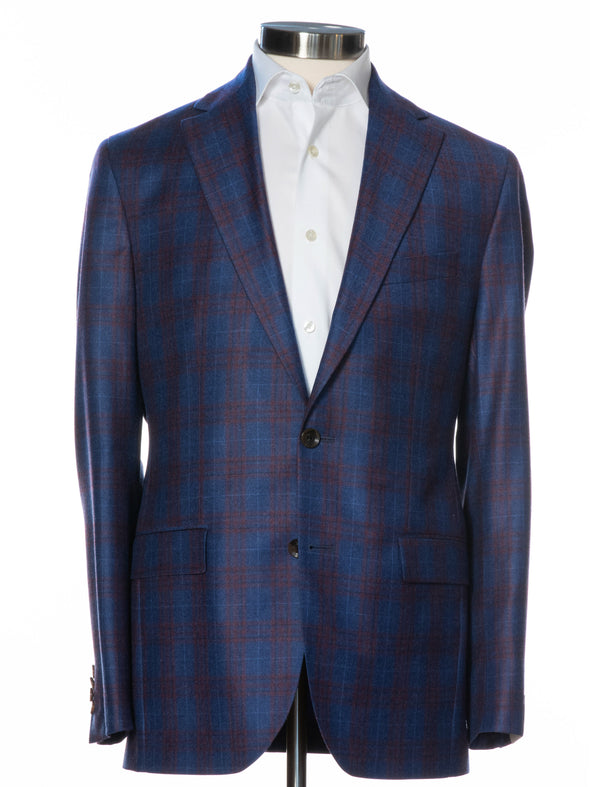 Blue Glen-Check Midland Contemporary Fit Sport Coat