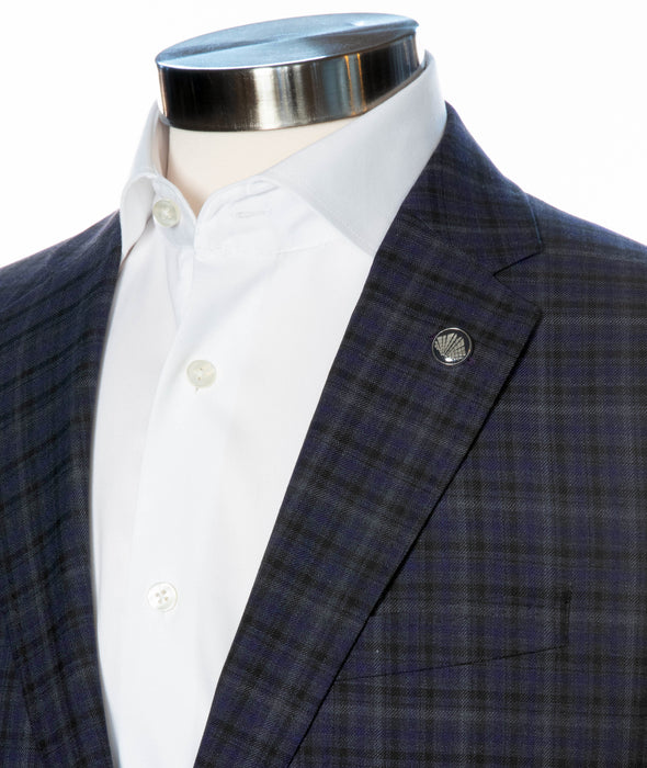 Grey Check Slim Fit Sport Coat