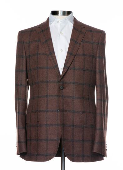 Brown Checked Soft Construction Wool & Cashmere Contemporary Fit Sport Coat