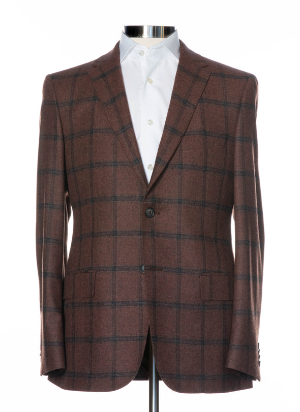 Brown Checked Wool & Cashmere Contemporary Fit Sport Coat