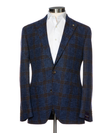 Blue Check Contemporary Fit Sport Coat Vitale Barberis 1913