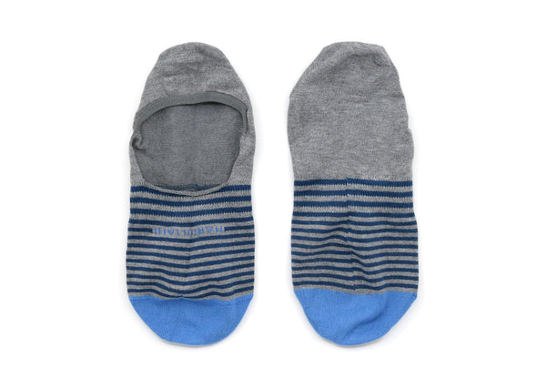 Grey Stripe Invisible Touch No-Show Socks