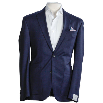 Blue Patterned Slim Fit Sport Coat
