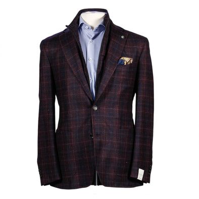 Jersey Knit Contemporary Fit Unconstructed Sport Coat with Bib
