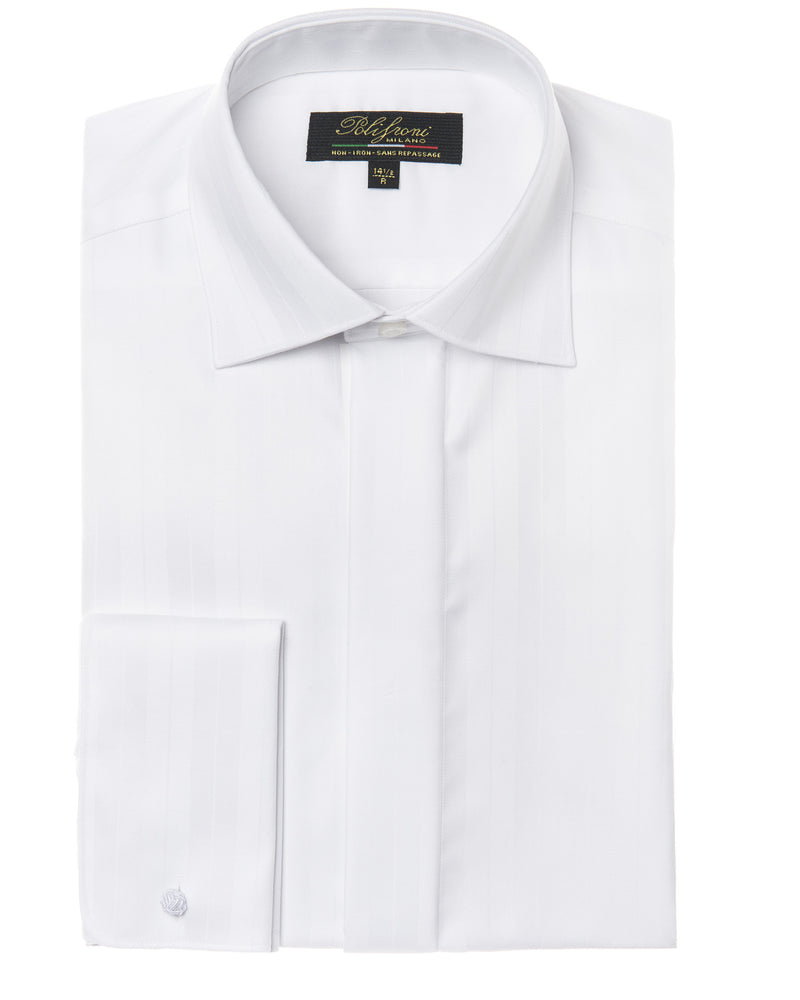 White dress shirt with hidden buttons by Polifroni