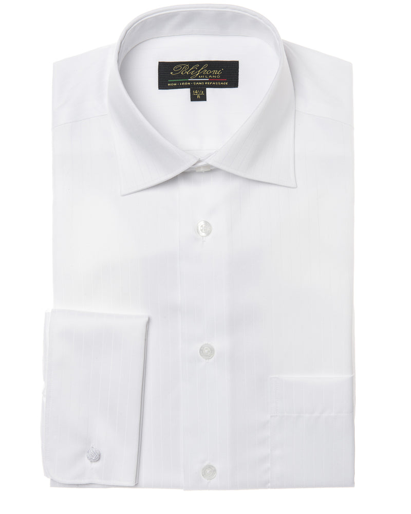 White shadow stripe dress shirt by Polifroni