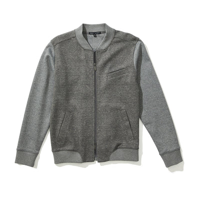 Gray ELMHURST Full Zip Bomber Sweater