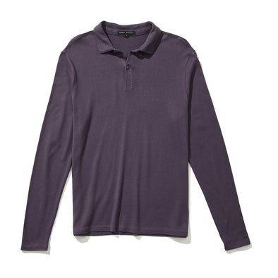 Winter Purple Sven Long Sleeve Jersey Cotton Polo