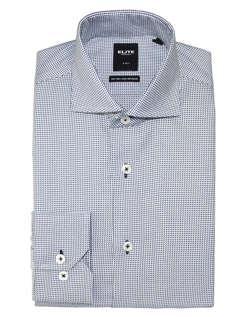 Black and Blue Micro Check Dress Shirt by Serica Elite