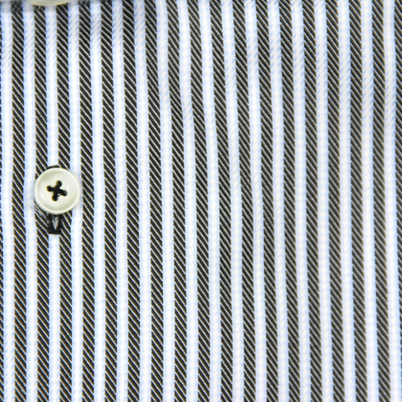 Blue stripe slim fit dress shirt by Serica Elite - fabric detail