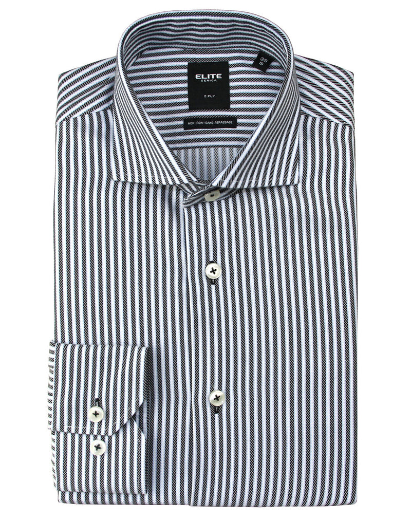Black stripe slim-fit dress shirt by Serica Elite