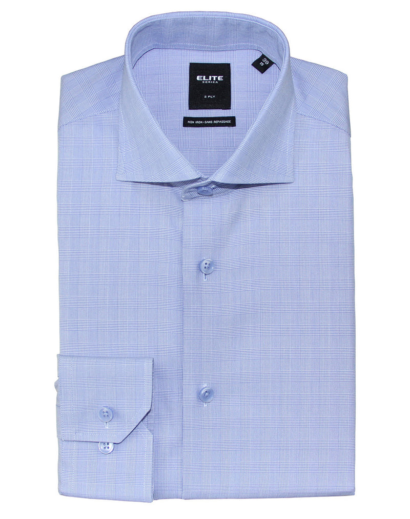 Blue microhoundstooth slim fit dress shirt by Serica Elite from BoutiqueJacques.com