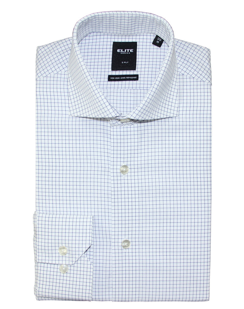 Navy check slim fit dress shirt by Serica Elite from BoutiqueJacques.com