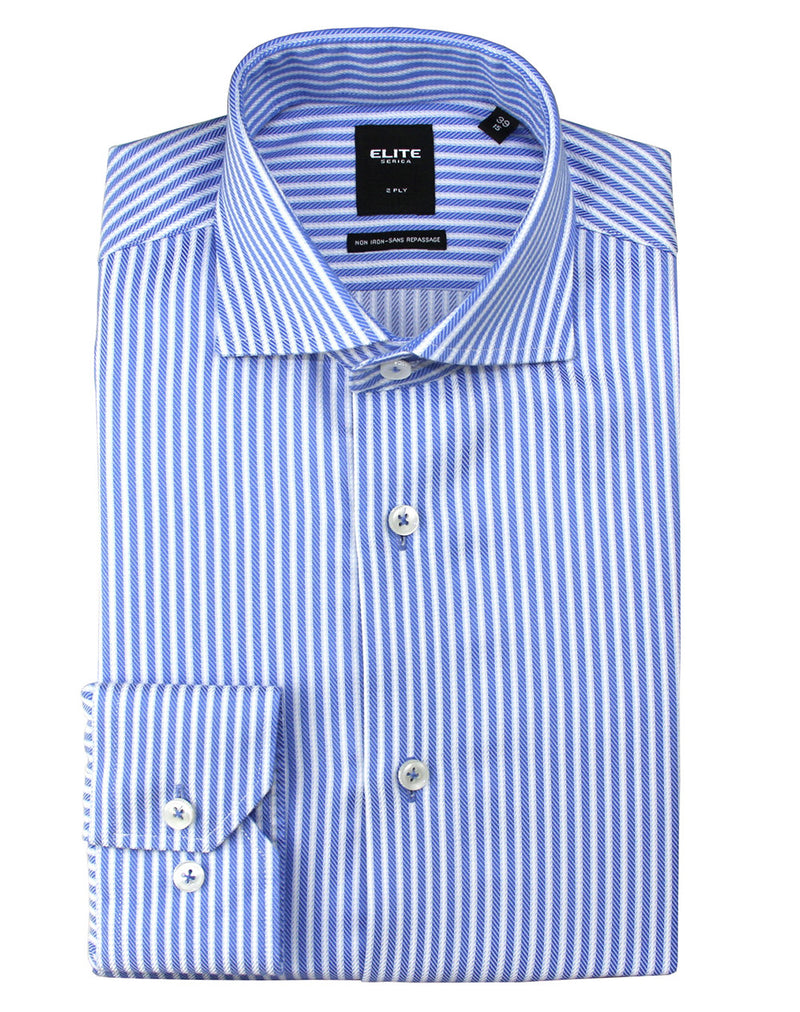 Blue and white striped slim-fit dress shirt by Serica Elite