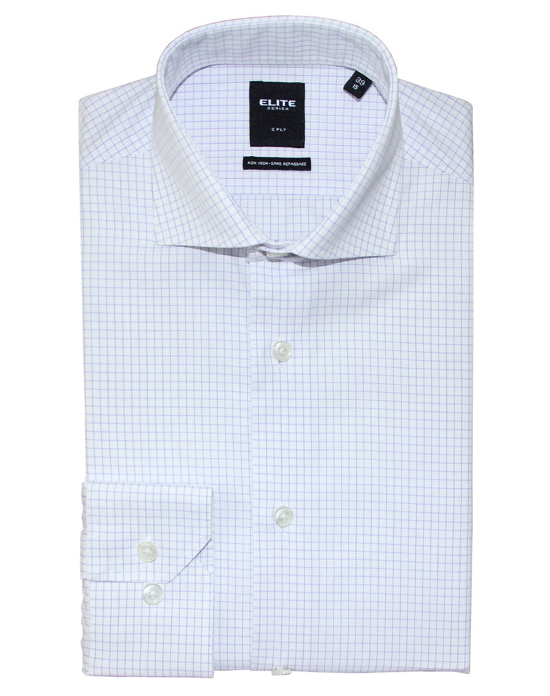 Mauve check slim fit dress shirt by Serica Elite from BoutiqueJacques.com