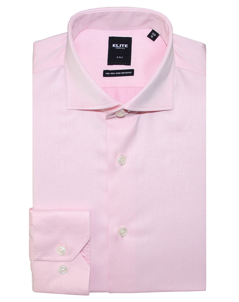 Pink slim fit dress shirt by Serica Elite from BoutiqueJacques.com