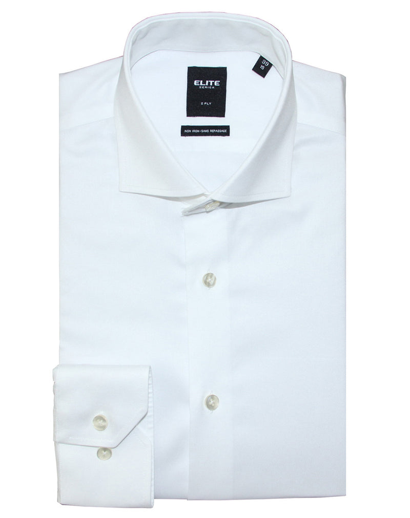 White button-cuff slim fit dress shirt by Serica Elite from BoutiqueJacques.com