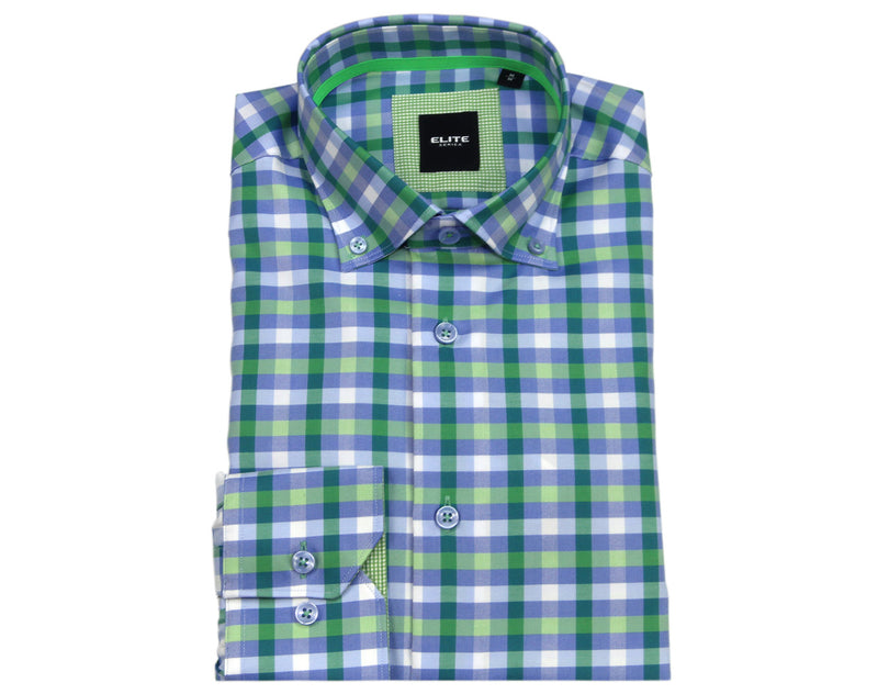 Green & White Check Sport Shirt – Serica Elite
