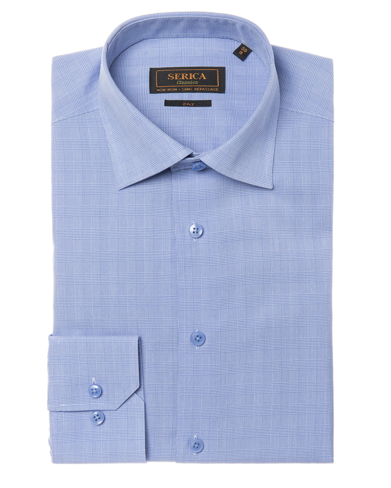 Blue glen check dress shirt