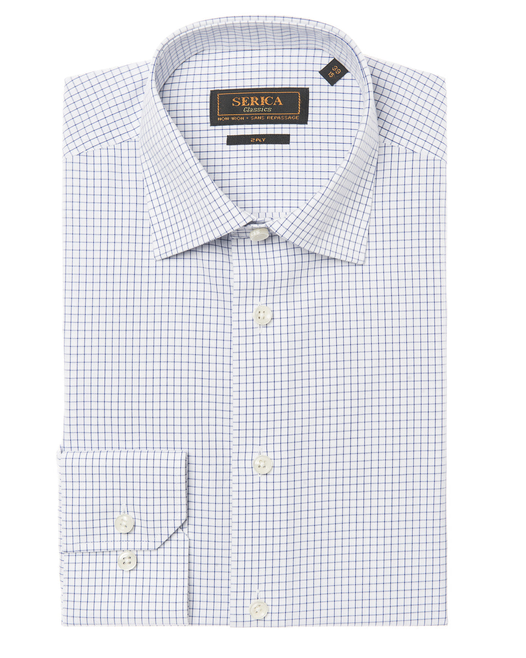 Dress shirt with navy check pattern by SERICA. Non-iron & wrinkle free.