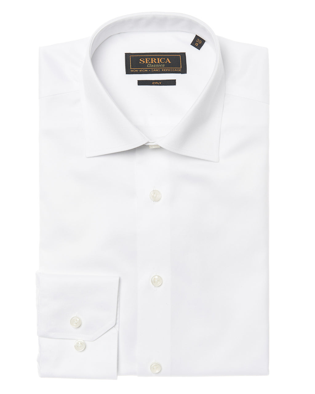 non iron White dress shirt with button cuffs. Wrinkle Free.