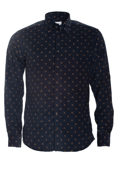 Stenstroms - Navy Corduroy Dot Slimline Shirt