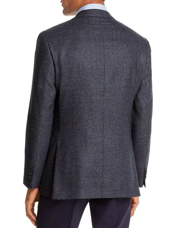 Micro-Check Blue Contemporary Fit Sport Coat
