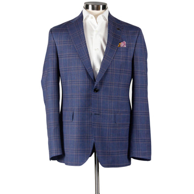 Blue Check Sport Coat Konan Slim Fit