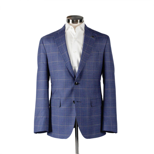 Ocean Blue Check Sport Coat Konan Slim Fit