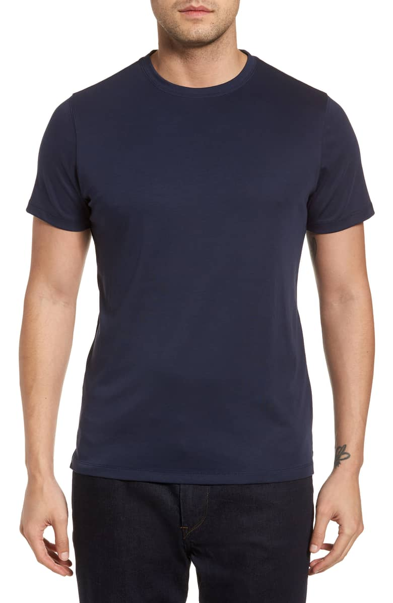 Luxurious Blue Night Pima Crew Neck T-Shirt