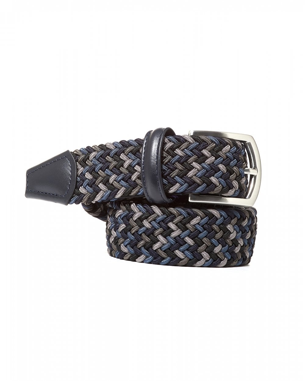 Navy Blue Grey Belt Woven Elastic Belt - Anderson's