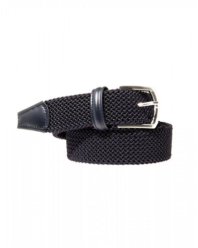 Solid Navy Woven Belt - Anderson's