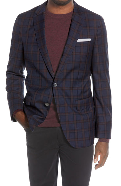 Navy Plaid Jay Slim Fit Sport Coat - Ted Baker