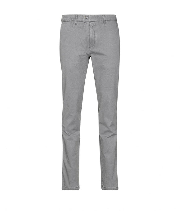 Grey Frederic Printed Cotton Slim Fit Chino