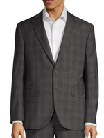 """ESPRIT"" • Charcoal Window-Pane Check • Contemporary Fit Suit"